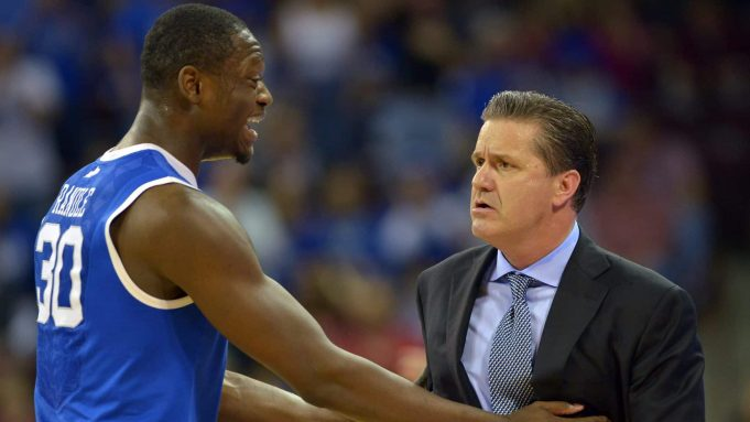 COLUMBIA, SC - MARCH 01: Julius Randle #30 tries to calm Head Coach John Calipari of the Kentucky Wildcats following a technical foul on Calipari during their game against the South Carolina Gamecocks at Colonial Life Arena on March 1, 2014 in Columbia, South Carolina.