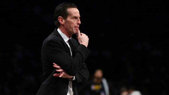 NEW YORK, NEW YORK - JANUARY 23: Head Coach Kenny Atkinson of the Brooklyn Nets looks on against the Los Angeles Lakers at Barclays Center on January 23, 2020 in New York City. NOTE TO USER: User expressly acknowledges and agrees that, by downloading and or using this photograph, User is consenting to the terms and conditions of the Getty Images License Agreement.
