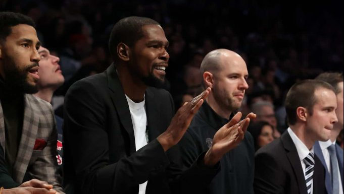 NEW YORK, NEW YORK - JANUARY 18: Kevin Durant #7 of the Brooklyn Nets looks on against the Milwaukee Bucks during their game at Barclays Center on January 18, 2020 in New York City. NOTE TO USER: User expressly acknowledges and agrees that, by downloading and/or using this photograph, user is consenting to the terms and conditions of the Getty Images License Agreement.