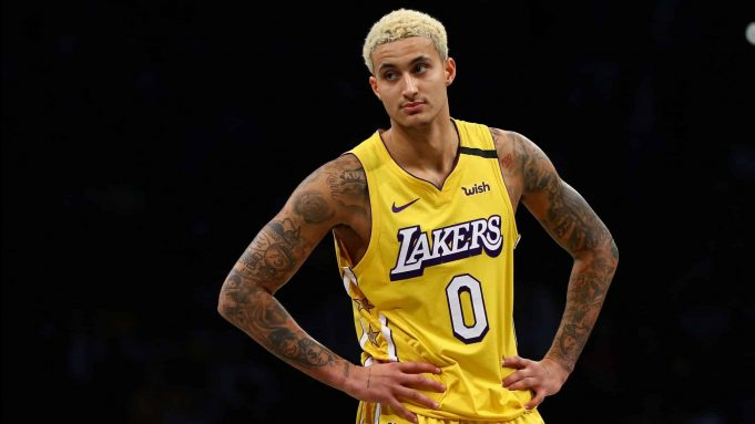 NEW YORK, NEW YORK - JANUARY 23: Kyle Kuzma #0 of the Los Angeles Lakers in action against the Brooklyn Nets at Barclays Center on January 23, 2020 in New York City. NOTE TO USER: User expressly acknowledges and agrees that, by downloading and or using this photograph, User is consenting to the terms and conditions of the Getty Images License Agreement.
