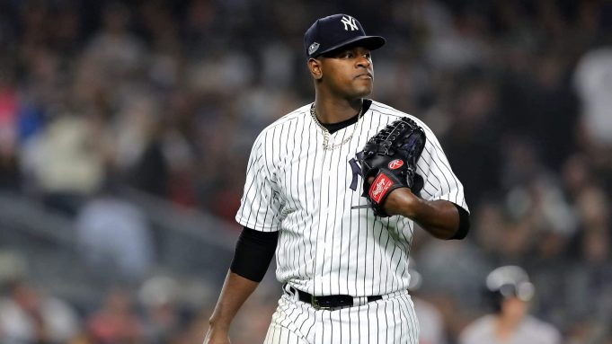 NEW YORK, NEW YORK - OCTOBER 08: Luis Severino #40 of the New York Yankees walks back to the dugout after being pulled against the Boston Red Sox during the fourth inning in Game Three of the American League Division Series at Yankee Stadium on October 08, 2018 in the Bronx borough of New York City.
