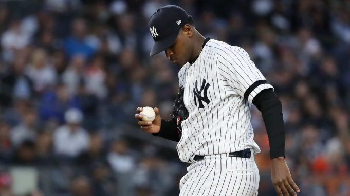 NEW YORK, NEW YORK - OCTOBER 15: Luis Severino #40 of the New York Yankees reacts during the fifth inning against the Houston Astros in game three of the American League Championship Series at Yankee Stadium on October 15, 2019 in New York City.