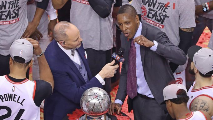 TORONTO, ON - MAY 25: Toronto Raptors General Manager Masai Ujiri addresses the crowd after defeating the Milwaukee Bucks in Game Six of the NBA Eastern Conference Final at Scotiabank Arena on May 25, 2019 in Toronto, Ontario, Canada. NOTE TO USER: user expressly acknowledges and agrees by downloading and/or using this Photograph, user is consenting to the terms and conditions of the Getty Images Licence Agreement.