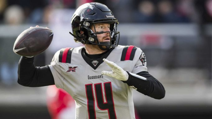 WASHINGTON, DC - FEBRUARY 15: Matt McGloin #14 of the NY Guardians attempts a pass against the DC Defenders during the first half of the XFL game at Audi Field on February 15, 2020 in Washington, DC.