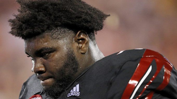 LOUISVILLE, KY - OCTOBER 05: Mekhi Becton #73 of the Louisville Cardinals reacts in the second half of the game against the Georgia Tech Yellow Jackets at Cardinal Stadium on October 5, 2018 in Louisville, Kentucky. New York Jets