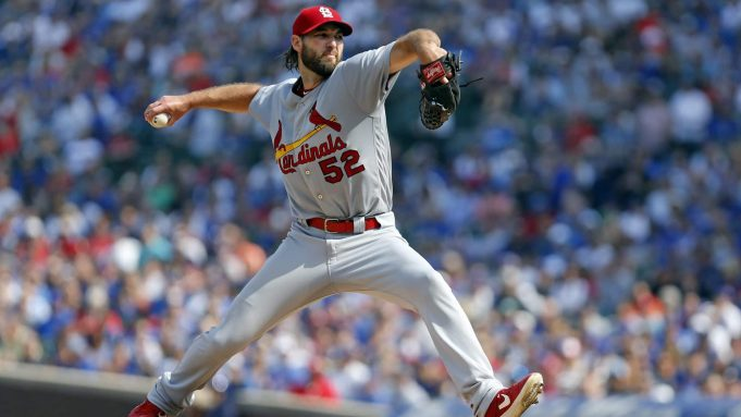CHICAGO, ILLINOIS - SEPTEMBER 20: Michael Wacha #52 of the St. Louis Cardinals pitches in the second inning during the game against the Chicago Cubs at Wrigley Field on September 20, 2019 in Chicago, Illinois.