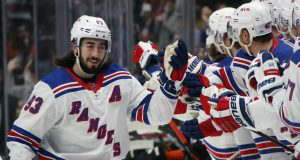 ANAHEIM, CALIFORNIA - DECEMBER 14: Mika Zibanejad #93 of the New York Rangers celebrates his goal at 10 seconds of the first period against John Gibson #36 of the Anaheim Ducks at the Honda Center on December 14, 2019 in Anaheim, California.