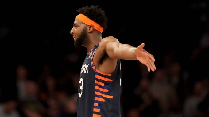 NEW YORK, NEW YORK - FEBRUARY 29: Mitchell Robinson #23 of the New York Knicks smiles as the game ends against the Chicago Bulls at Madison Square Garden on February 29, 2020 in New York City.The New York Knicks defeated the Chicago Bulls 125-115.NOTE TO USER: User expressly acknowledges and agrees that, by downloading and or using this photograph, User is consenting to the terms and conditions of the Getty Images License Agreement.