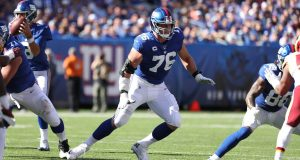EAST RUTHERFORD, NEW JERSEY - SEPTEMBER 29: Nate Solder #76 of the New York Giants in action against the Washington Redskins during their game at MetLife Stadium on September 29, 2019 in East Rutherford, New Jersey.