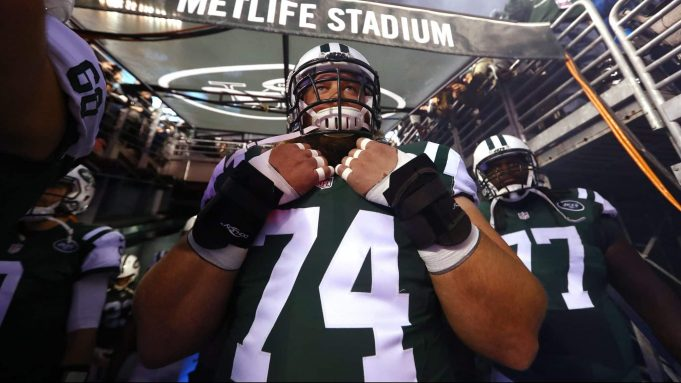 EAST RUTHERFORD, NJ - DECEMBER 05: Nick Mangold #74 of the New York Jets waits to be introduced against the Indianapolis Colts before their game at MetLife Stadium on December 5, 2016 in East Rutherford, New Jersey.