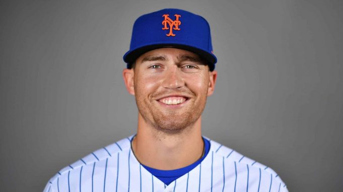 PORT ST. LUCIE, FLORIDA - FEBRUARY 20: Brandon Nimmo #9 of the New York Mets poses for a photo during Photo Day at Clover Park on February 20, 2020 in Port St. Lucie, Florida.