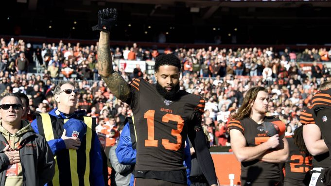 CLEVELAND, OHIO - DECEMBER 22: Odell Beckham Jr. #13 of the Cleveland Browns reacts on the sideline prior to the game against the Baltimore Ravens at FirstEnergy Stadium on December 22, 2019 in Cleveland, Ohio.