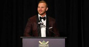 NEW YORK, NEW YORK - JANUARY 25: Pete Alonso of the New York Mets speaks after receiving his 2019 National League Rookie Of The Year Award during the 97th annual New York Baseball Writers' Dinner on January 25, 2020 Sheraton New York in New York City.