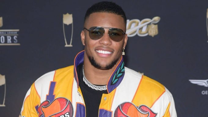MIAMI, FLORIDA - FEBRUARY 01: Saquon Barkley attends the 9th Annual NFL Honors at Adrienne Arsht Center on February 01, 2020 in Miami, Florida.
