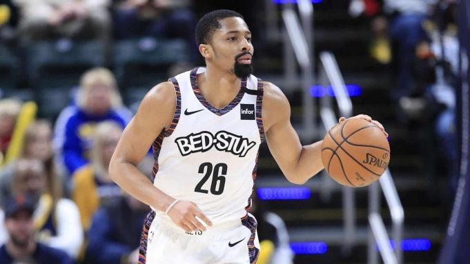 INDIANAPOLIS, INDIANA - FEBRUARY 10: Spencer Dinwiddie #26 of the Brooklyn Nets dribbles the ball in the 106-105 win against the Indiana Pacers at Bankers Life Fieldhouse on February 10, 2020 in Indianapolis, Indiana. NOTE TO USER: User expressly acknowledges and agrees that, by downloading and or using this photograph, User is consenting to the terms and conditions of the Getty Images License Agreement.