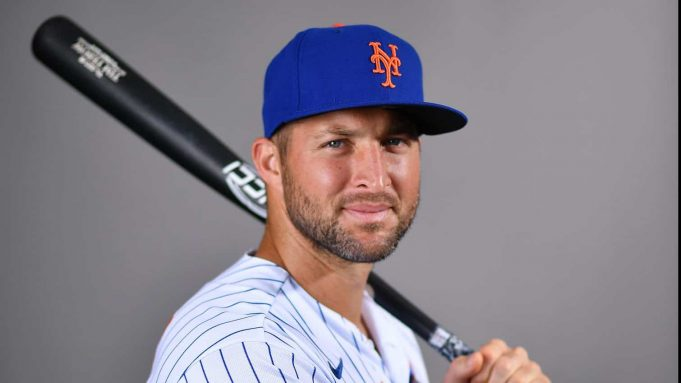 PORT ST. LUCIE, FLORIDA - FEBRUARY 20: Tim Tebow #85 of the New York Mets poses for a photo during Photo Day at Clover Park on February 20, 2020 in Port St. Lucie, Florida.