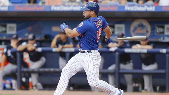 PORT ST. LUCIE, FLORIDA - FEBRUARY 23: Tim Tebow #15 of the New York Mets at bat against the Atlanta Braves during the Grapefruit League spring training game at First Data Field on February 23, 2019 in Port St. Lucie, Florida.
