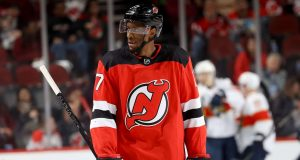 NEWARK, NEW JERSEY - FEBRUARY 11: Wayne Simmonds #17 of the New Jersey Devils reacts after the Florida Panthers scored in the second period at Prudential Center on February 11, 2020 in Newark, New Jersey.