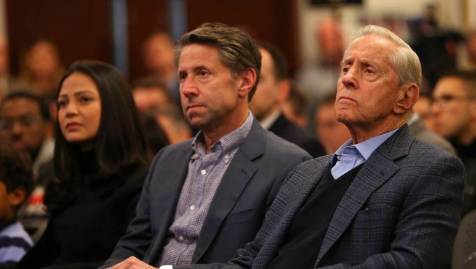 NEW YORK, NY - JANUARY 24: New York Mets Chief Operating Officer Jeff Wilpon and Chairman of the Board & Chief Executive Officer Fred Wilpon listen in as Luis Rojas is introduced as the team's new manager at Citi Field on January 24, 2020 in New York City. Rojas had been the Mets quality control coach and was tapped as a replacement after the newly hired Carlos Beltrán was implicated for his role as a player in 2017 in the Houston Astros sign-stealing scandal.