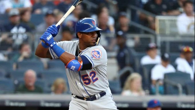 NEW YORK, NY - JULY 20: Yoenis Cespedes #52 of the New York Mets bats against the New York Yankees during their game at Yankee Stadium on July 20, 2018 in New York City.