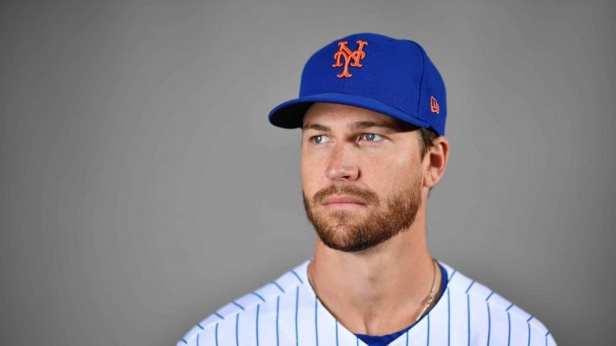 PORT ST. LUCIE, FLORIDA - FEBRUARY 20: Jacob deGrom #48 of the New York Mets poses for a photo during Photo Day at Clover Park on February 20, 2020 in Port St. Lucie, Florida.