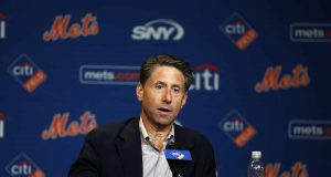 NEW YORK, NY - SEPTEMBER 30: New York Mets COO Jeff Wilpon speaks to the media prior to a game against the Miami Marlins at Citi Field on September 30, 2018 in the Flushing neighborhood of the Queens borough of New York City.