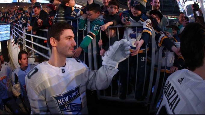 ST LOUIS, MISSOURI - JANUARY 25: Chris Kreider #20 of the New York Rangers skates on to the ice prior to the 2020 Honda NHL All-Star Game at Enterprise Center on January 25, 2020 in St Louis, Missouri.