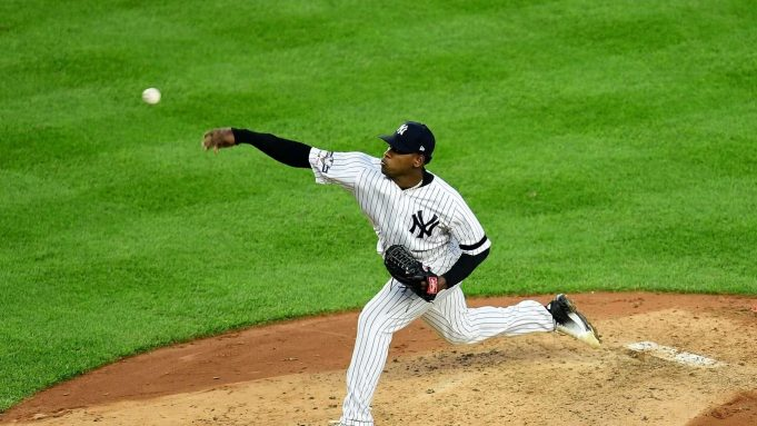 NEW YORK, NEW YORK - OCTOBER 15: Luis Severino #40 of the New York Yankees delivers a pitch in the fifth inning of their game against the Houston Astros during game three of the American League Championship Series at Yankee Stadium on October 15, 2019 in the Bronx borough of New York City.