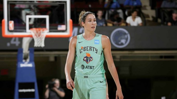 WHITE PLAINS, NY- AUGUST 13: Rebecca Allen #9 of the New York Liberty looks on. during the game against the Minnesota Lynx on August 13, 2019 at the Westchester County Center, in White Plains, New York. NOTE TO USER: User expressly acknowledges and agrees that, by downloading and or using this photograph, User is consenting to the terms and conditions of the Getty Images License Agreement. Mandatory Copyright Notice: Copyright 2019 NBAE