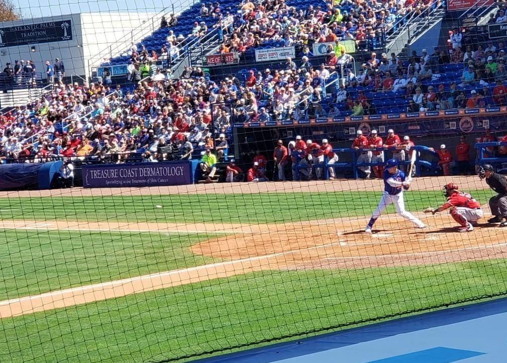 New York Mets OF Michael Conforto as he hits a home run on his birthday 2020