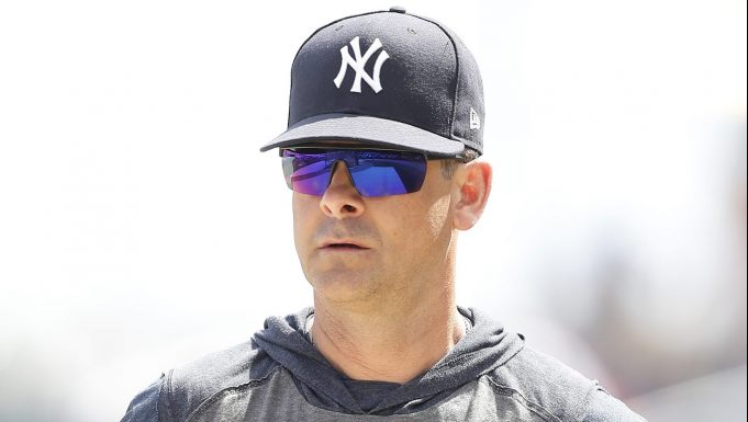 WEST PALM BEACH, FLORIDA - MARCH 12: Manager Aaron Boone of the New York Yankees looks on prior to a Grapefruit League spring training game against the Washington Nationals at FITTEAM Ballpark of The Palm Beaches on March 12, 2020 in West Palm Beach, Florida.