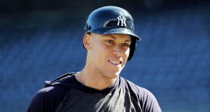 NEW YORK, NEW YORK - OCTOBER 15: Aaron Judge #99 of the New York Yankees looks on during batting practice prior to game three of the American League Championship Series against the Houston Astros at Yankee Stadium on October 15, 2019 in New York City.
