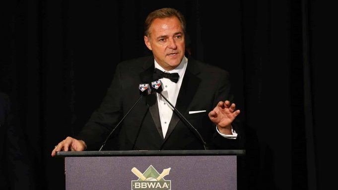 NEW YORK, NEW YORK - JANUARY 25: Al Leiter speaks after receiving the