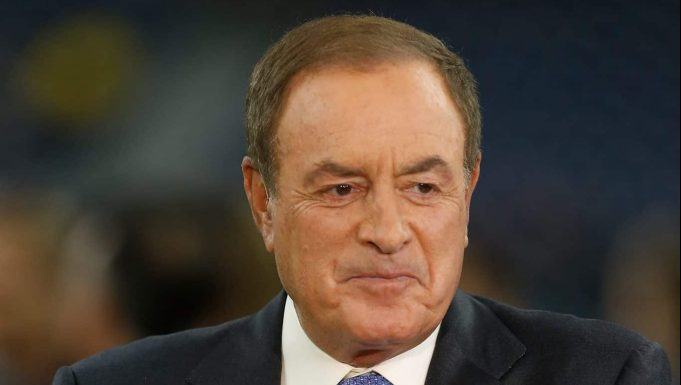HOUSTON, TX - OCTOBER 07: NBC's Al Michaels prepares for the Sunday night game between the Dallas Cowboys and Houston Texans at NRG Stadium on October 7, 2018 in Houston, Texas.