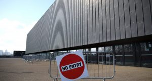 LONDON, ENGLAND - MARCH 16: A No entry sign is seen outside the venue as the event is placed behind closed doors due to the Coronavirus Covid-19 pandemic on Day Three of the Road to Tokyo European Boxing Olympic Qualifying Event at Copper Box Arena on March 16, 2020 in London, England.