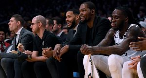 LOS ANGELES, CALIFORNIA - MARCH 10: Kevin Durant #7 of the Brooklyn Nets smiles during the first half against the Los Angeles Lakers at Staples Center on March 10, 2020 in Los Angeles, California.