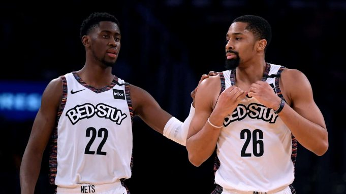 LOS ANGELES, CALIFORNIA - MARCH 10: Spencer Dinwiddie #26 of the Brooklyn Nets reacts to his offensive foul with Caris LeVert #22 during a 104-102 win over the Los Angeles Lakers at Staples Center on March 10, 2020 in Los Angeles, California.
