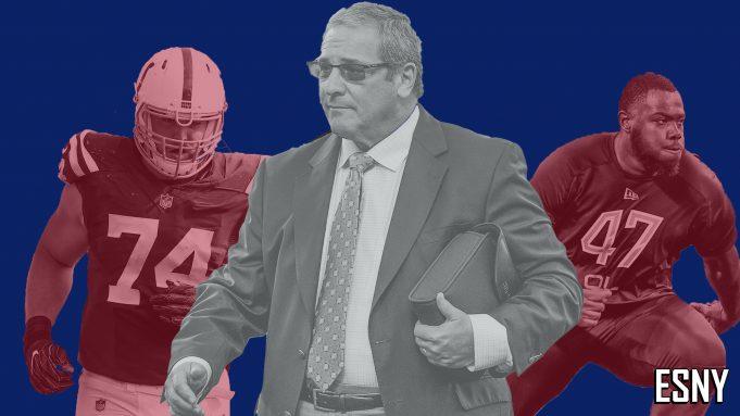 New York Giants Anthony Castonzo, Dave Gettleman, Andrew Thomas