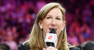 LAS VEGAS, NEVADA - JULY 27: WNBA Commissioner Cathy Engelbert speaks on the court after the WNBA All-Star Game 2019 at the Mandalay Bay Events Center on July 27, 2019 in Las Vegas, Nevada. Team Wilson defeated Team Delle Donne 129-126. NOTE TO USER: User expressly acknowledges and agrees that, by downloading and or using this photograph, User is consenting to the terms and conditions of the Getty Images License Agreement.