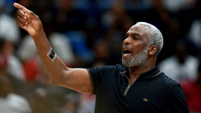 NEW ORLEANS, LOUISIANA - AUGUST 25: Killer 3s head coach Charles Oakley looks on during the BIG3 Playoffs at Smoothie King Center on August 25, 2019 in New Orleans, Louisiana.