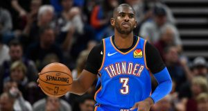 SALT LAKE CITY, UT - OCTOBER 23: Chris Paul #3 of the Oklahoma City Thunder looks on during an opening night game against the Oklahoma City Thunder at Vivint Smart Home Arena on October 23, 2019 in Salt Lake City, Utah. NOTE TO USER: User expressly acknowledges and agrees that, by downloading and or using this photograph, User is consenting to the terms and conditions of the Getty Images License Agreement.