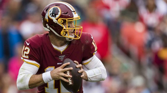 LANDOVER, MD - OCTOBER 06: Colt McCoy #12 of the Washington Redskins scrambles against the New England Patriots during the second half at FedExField on October 6, 2019 in Landover, Maryland.