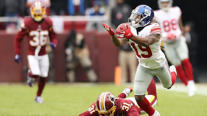 LANDOVER, MD - DECEMBER 09: Wide receiver Corey Coleman #19 of the New York Giants attempts to pull in a catch in the first quarter against the Washington Redskins at FedExField on December 9, 2018 in Landover, Maryland.