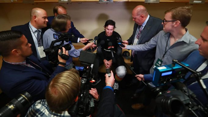 DALLAS, TX - OCTOBER 06: James Neal #18 of the Vegas Golden Knights talks with reporters in the locker room after scoring the first two goals in team history to beat the Dallas Stars 2-1 at American Airlines Center on October 6, 2017 in Dallas, Texas.