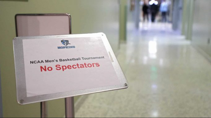 BALTIMORE, MARYLAND - MARCH 06: A sign reads 'No Spectators