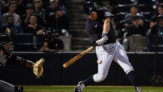 TAMPA, FLORIDA - FEBRUARY 24: DJ LeMahieu #26 of the New York Yankees at bat in the first inning during the spring training game against the Pittsburgh Pirates at Steinbrenner Field on February 24, 2020 in Tampa, Florida.