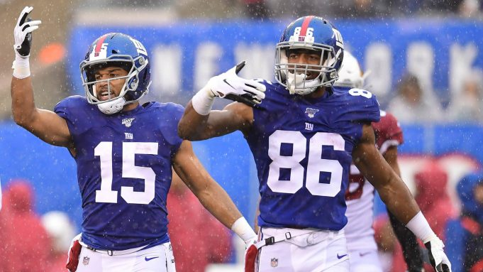 EAST RUTHERFORD, NEW JERSEY - OCTOBER 20: Golden Tate #15 and Darius Slayton #86 of the New York Giants react during the second half of their game against the Arizona Cardinals at MetLife Stadium on October 20, 2019 in East Rutherford, New Jersey.