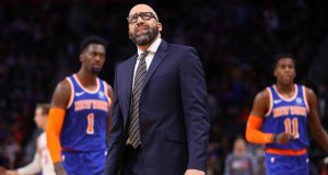 DETROIT, MICHIGAN - NOVEMBER 06: Head coach David Fizdale of the New York Knicks reacts while playing the Detroit Pistons at Little Caesars Arena on November 06, 2019 in Detroit, Michigan. Detroit won the game 122-102. NOTE TO USER: User expressly acknowledges and agrees that, by downloading and/or using this photograph, user is consenting to the terms and conditions of the Getty Images License Agreement.