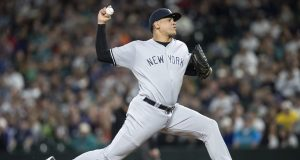 SEATTLE, WA - SEPTEMBER 8: Reliever Dellin Betances #68 of the New York Yankees deliver a pitch during the ninth inning of a game Mariners at Safeco Field on September 8, 2018 in Seattle, Washington. The Yankees won 4-2.