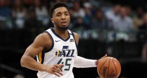 DALLAS, TEXAS - FEBRUARY 10: Donovan Mitchell #45 of the Utah Jazz at American Airlines Center on February 10, 2020 in Dallas, Texas. NOTE TO USER: User expressly acknowledges and agrees that, by downloading and or using this photograph, User is consenting to the terms and conditions of the Getty Images License Agreement.